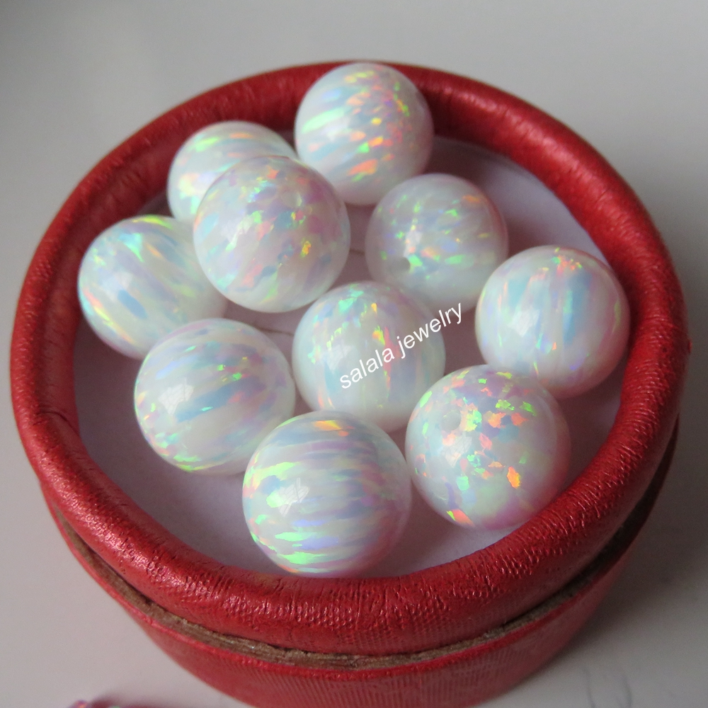 10pcs lot 12mm Round Opal Beads Round Ball Opal Full Drilled Synthetic Round Opal Beads for