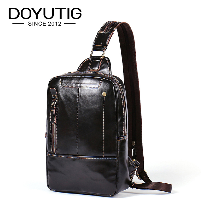 DOYUTIG Brand Fashion New Real Cow Leather Men Chest Bag Business Style Male Crossbody Bags Genuine Leather Shoulder Bags G146DOYUTIG Brand Fashion New Real Cow Leather Men Chest Bag Business Style Male Crossbody Bags Genuine Leather Shoulder Bags G146