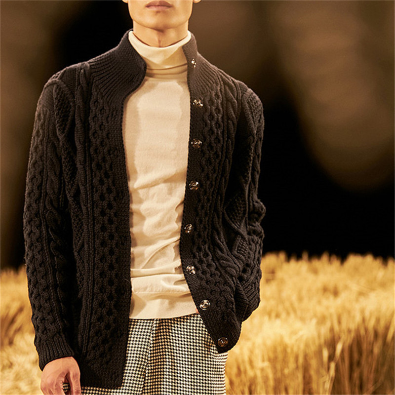100% Hand Made Pure Wool Turtleneck Knit Men Fashion Solid Loose Cardigan Sweater White 4color Customized