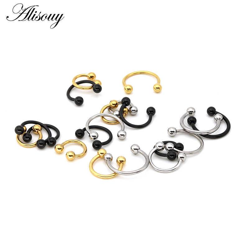 Alisouy 1 ชิ้น 16 กรัมจมูก Lip หัวนม Eyebrow กลีบแหวน Hoop Horseshoe หูสำหรับผู้หญิงผู้ชายเหล็กเครื่องประดับ