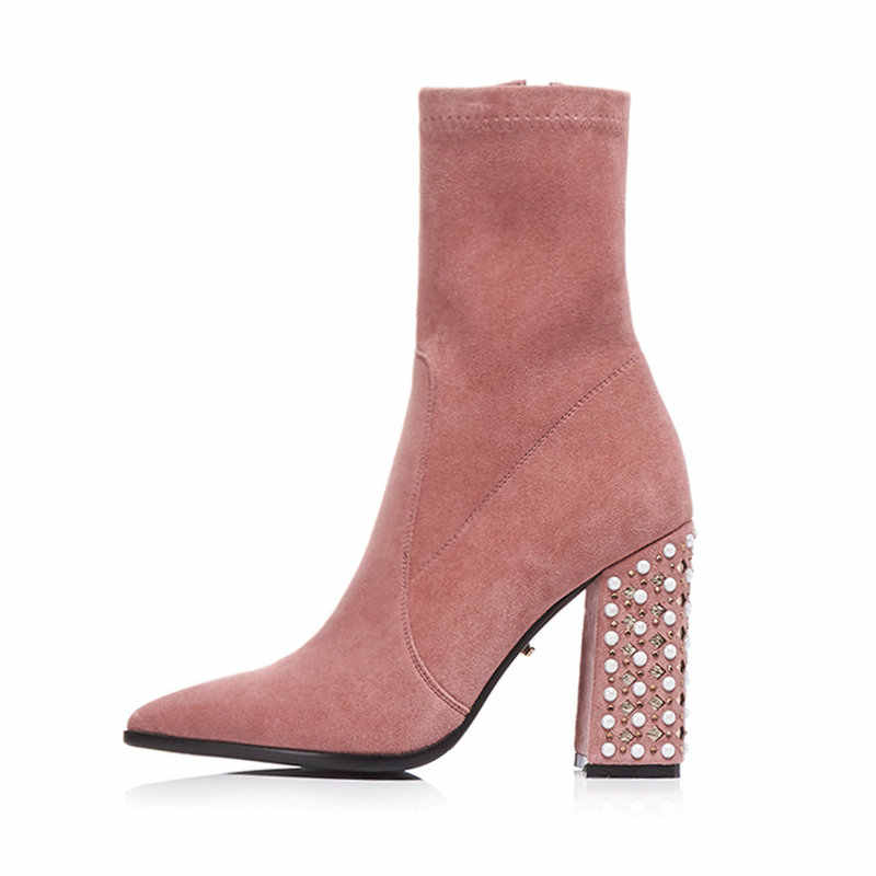 120e6c8c6c3 Female Suede Thick High Heel Ankle Boots Fashion Zipper Rivet Pointed Toe  Women Fall Winter Bootie Black Pink Brown Gray