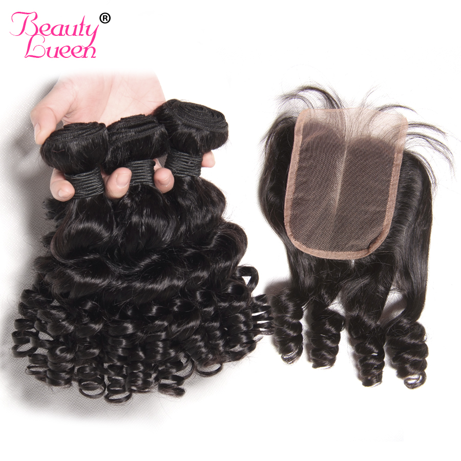 Peruvian Bouncy Curly Weave Human Hair Bundles 3 Bundles With Closure Free Middle Funmi Hair With
