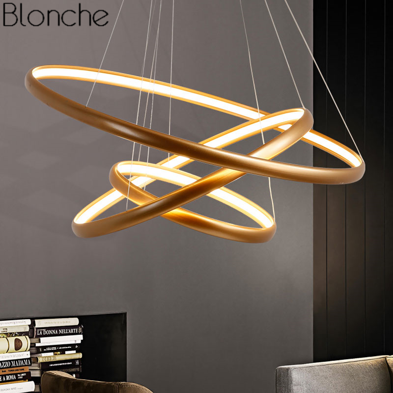 Post Modern Gold Ring Pendant Lights Nordic Luxury Led Loft Decor Hanging Lamp for Living Room Bedroom Home Fixture Luminaire