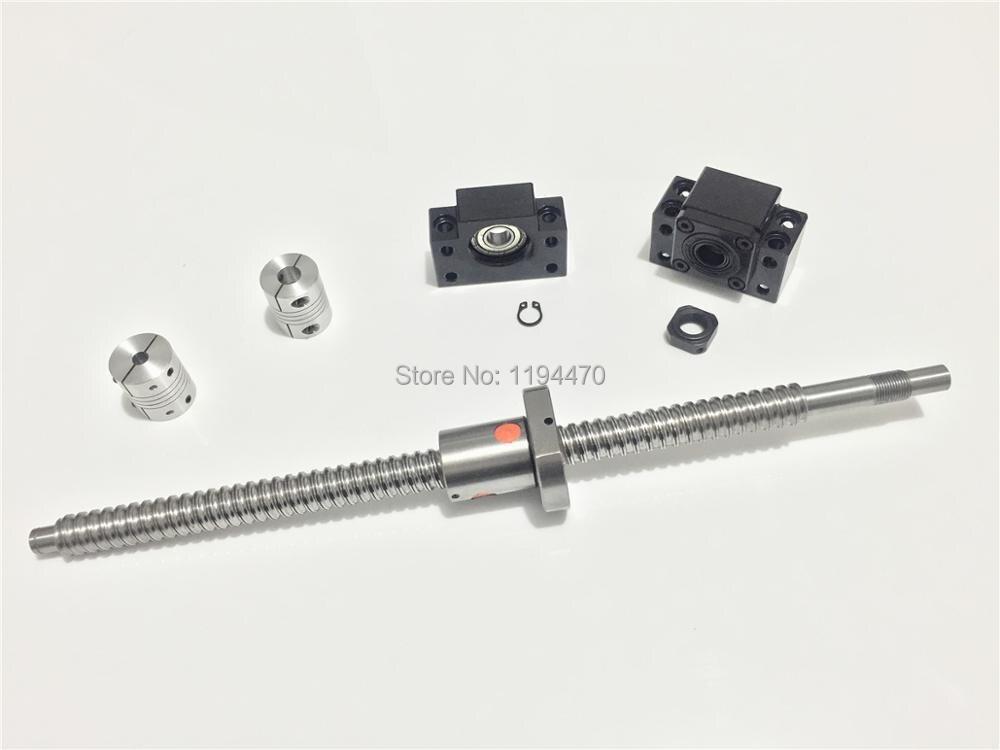Vis à billes SFU1605 RM1605 L350mm Vis À Billes Bout Usiné avec Ballnut + BK12 BF12 Fin Support + 2 pièces 6.35x10mm Coupleur