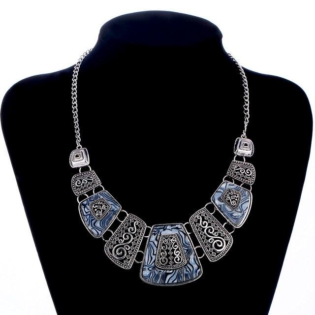 8aaabcbf7a04 Vintage declaración Collares joyería GEM geométrica gargantilla collar moda  bijoux Colgantes y Collar para las mujeres