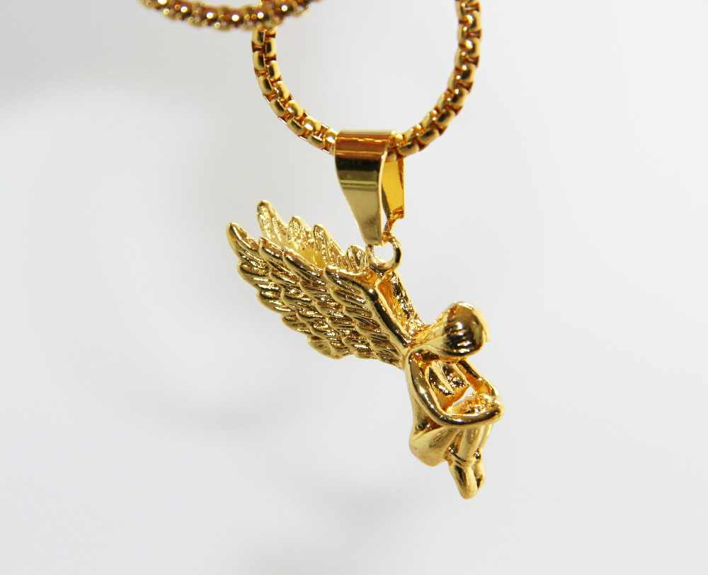ZRM Fashion Jewelry Hip hop 24K Gold Chain Cherub Pendant Long Chain Micro Angel Piece Necklace For Men And Women