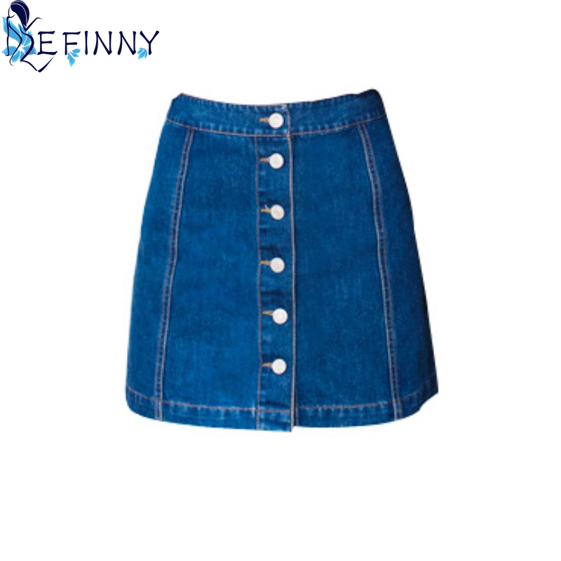 N 2019 Women High Empire Skirt All-match Girl Skirt Denim Female Skirt