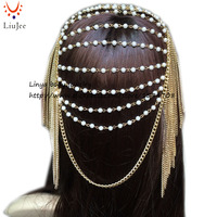 Luxury Fashion Women Punk Multi Layer Metal Head Chain Jewelry Forehead Headband Hair Piece Body Jewelry
