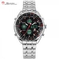 Genuine Shark Dual Time Digital Analog Silver Stainless Steel Stop Watch Men S Black Sport Quartz