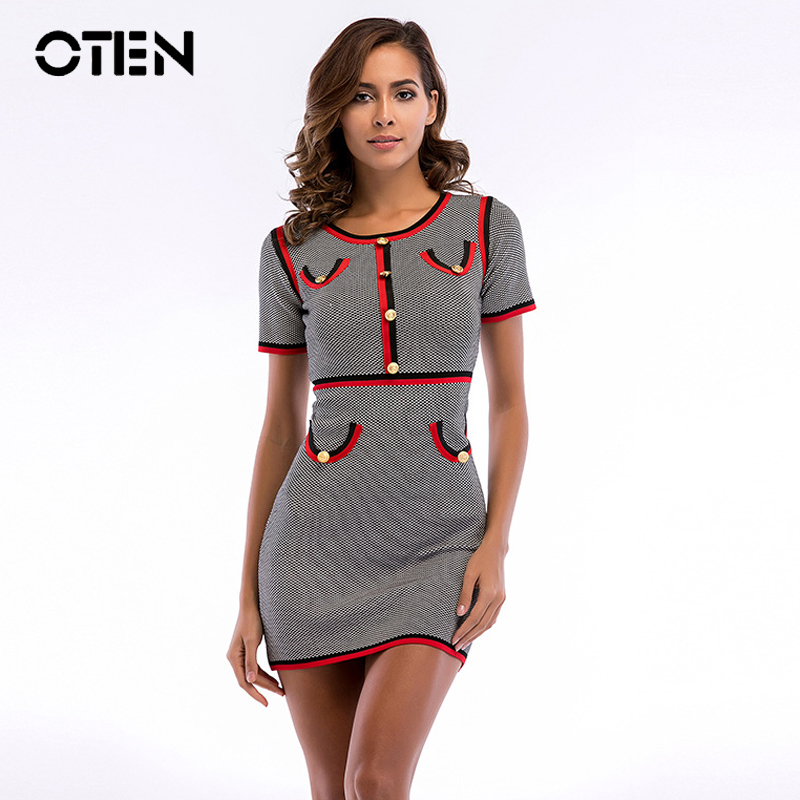 OTEN <font><b>sexy</b></font> new <font><b>club</b></font> <font><b>dresses</b></font> <font><b>2018</b></font> <font><b>Women</b></font> <font><b>Summer</b></font> Short sleeve O Neck Striped Knitted Sheath Bodycon Short Mini elegant office <font><b>dress</b></font> image