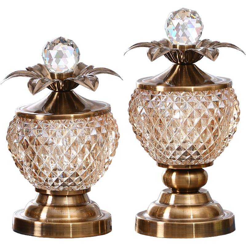 European style glass pineapple ornaments home furnishings American wine cabinet accessories living roomTV cabinet flower vases