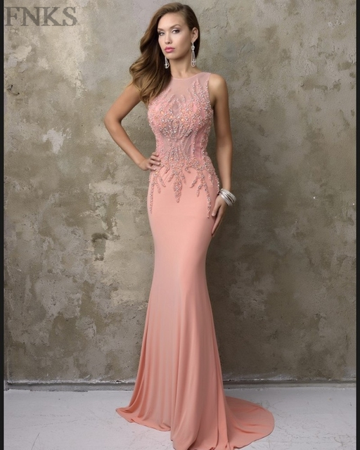 Pretty Peach Mermaid Evening Dresses 2017 Crystal Beading Sheer Back Prom Dress Formal Women Party Gown