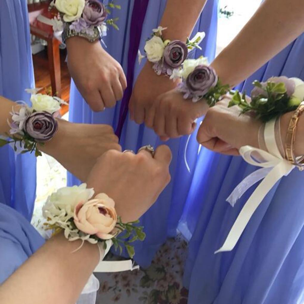 Elegante mini casamento dama de honra pulso falso flor artificial mão flor pulseira feminina