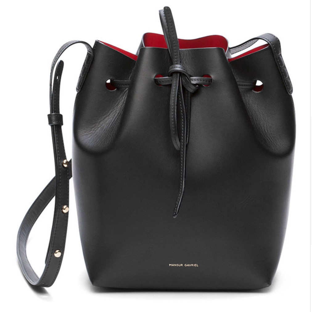 Handbags: Mansur Gavriel Bucket bag women Pu Leather String Shoulder bag Luxury Bags Famous Designer With Logo printed Mansur Gavriel