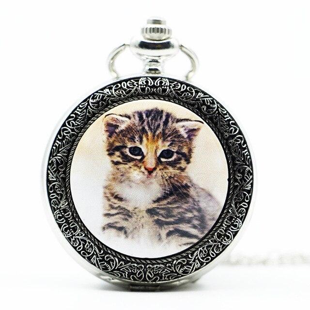 Tasche & Fob Uhren Gerade Mode Schöne Weiße Katze Kitty Bronze Quarz Taschenuhr Analog Anhänger Halskette Herren Frauen Uhren Pb617