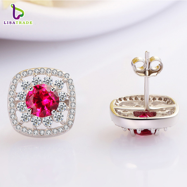 New Arrival 925 Sterling Silver Earrings with Beautiful Red Corundum Fine Jewelry Female Earrings Accessories C146