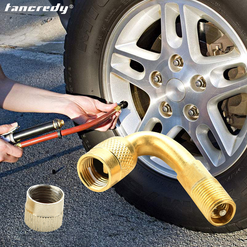 1pc Universal Angled Copper Tubeless Clamp In Wheel Rim Rubber Tyre Valve Car