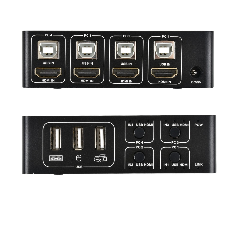 Image 3 - 4 port 4K HDMI KVM Switch splitter box  USB HDMI 1.4 KVM Switcher selector control up to 4 monitors for mac os. windows 10-in HDMI Cables from Consumer Electronics