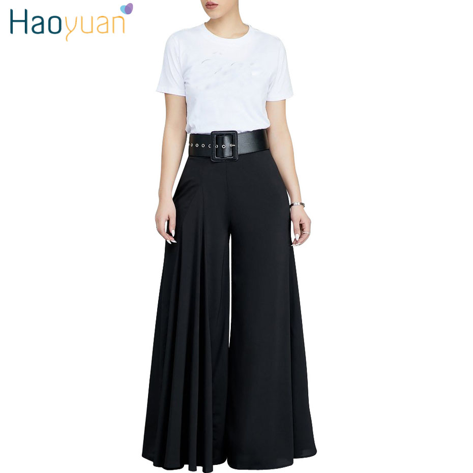 HAOYUAN Casual Loose Pleated Wide Leg Pants Trousers Women 2018 Fashion Autumn Mid Waist Streetwear Elastic Waist Palazzo Pants