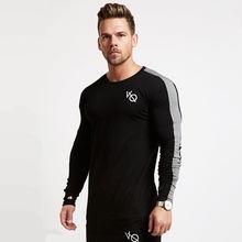 782db8fcb85 Новые осенние Для мужчин кроссовки хлопковая футболка с длинными рукавами  тренажерный зал Фитнес Training футболка мужские