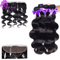 13x4 Lace Frontal Closure With 3 Bundles Body Wave Bleached Knots Free Part Ear To Ear Lace Frontal with Malaysian Body Wave