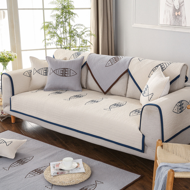High Quality Cotton Sofa Towel Fish Embroidery Non Slip