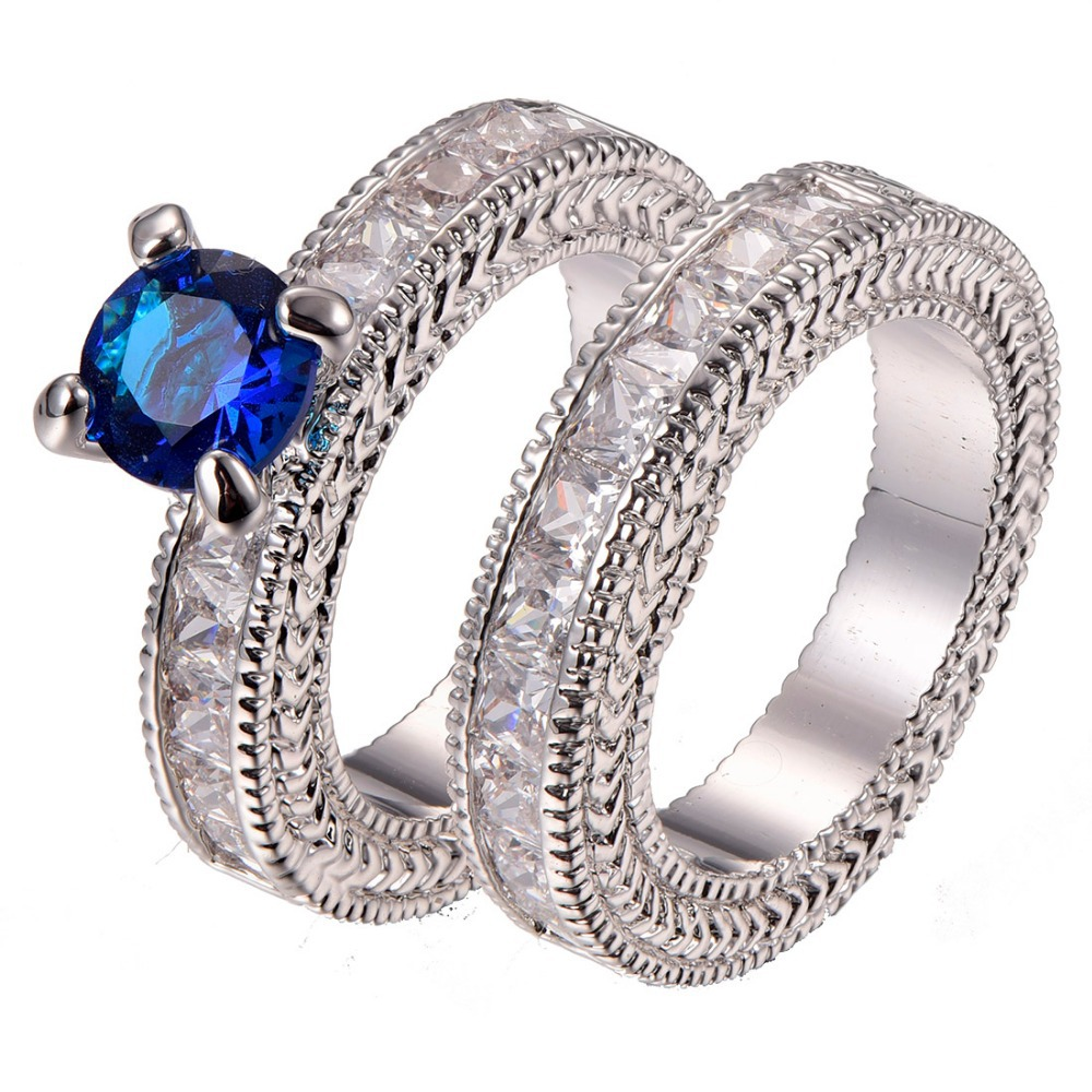 Free Shipping Blue Crystal Zircon 925 sterling silver Engagement Wedding Ring Size 6 7 8 9 10 11 F1330