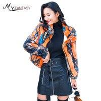 M.Y.FANSTY 2017 Winter Women's Print Flower Mink Full Sleeve Coat Jacket Mandarin Collar Real Fur Coat Colorful Short Mink Coats
