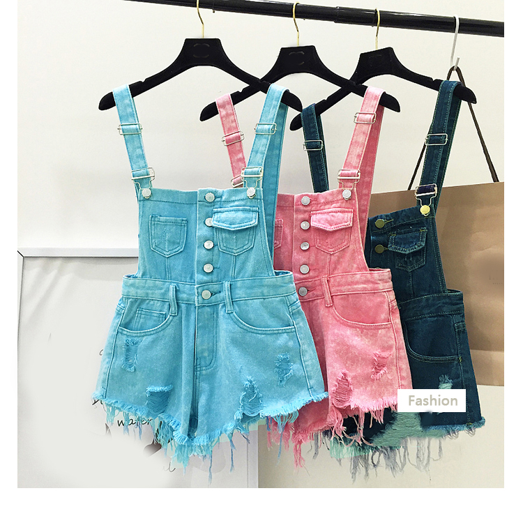 New style college wind cowboys back to wear shorts women summer holes loose Korean version of students show thin suspenders pants (16)