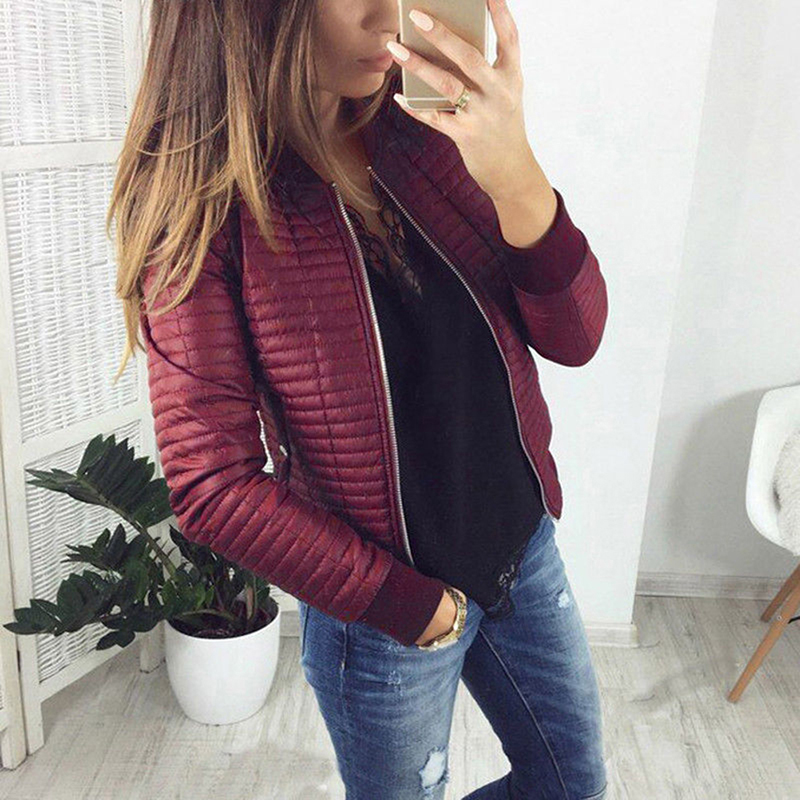 Spring Casual Stand Collar Thin Slim Fit Outerwear Autumn Women Lady Thin   Jackets   Fashion   Basic   Bomber   Jacket   Long Sleeve Coat