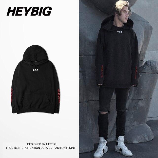 off white YOU CUT ME OFF male Hood 2016 new Streetwear HEYBIG men Hiphop Sweatshirts Autumn Fleece Tracksuits Asian Plus Size