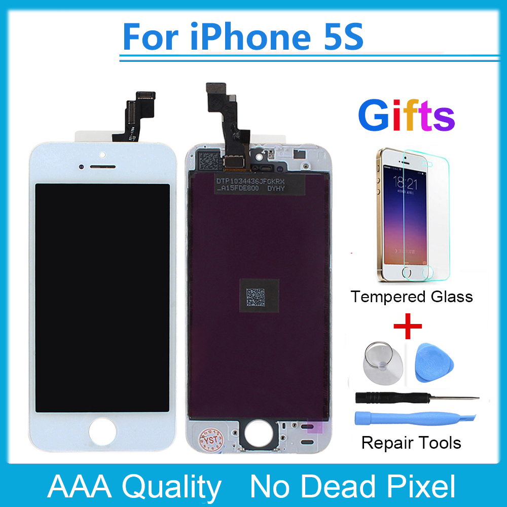 AAA Quality new LCD Touch Screen Digiitizer Frame Assembly for iPhone 5S with 5S Phone Tempered Glass + 4 in 1 Repair Tools ...