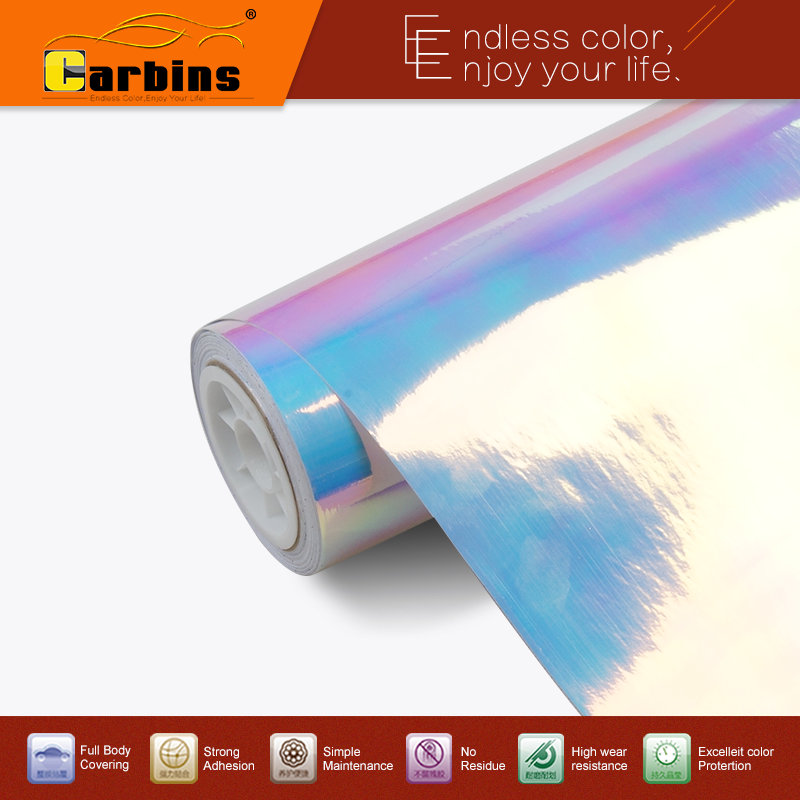 Carbins пленка Радуга хром винил автомобиля обёрточная бумага белый и синий цвета стикер, новые винилы неоновый хром