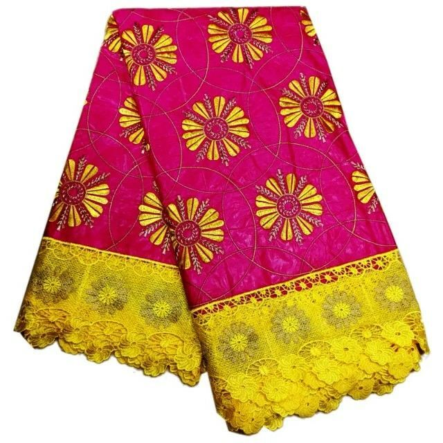 5 Y/pc Charming fuchsia Bazin lace fabric and yellow water soluble flower design embroidery african cord lace for dress LBL21-65 Y/pc Charming fuchsia Bazin lace fabric and yellow water soluble flower design embroidery african cord lace for dress LBL21-6