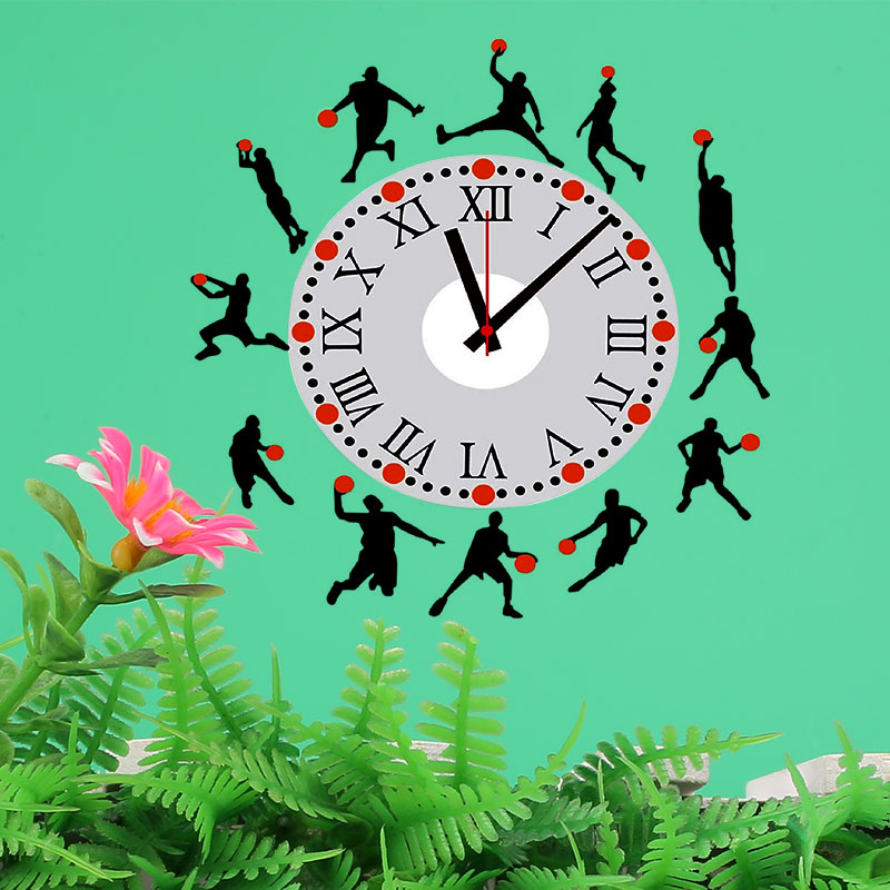 Wall Clock Sticker Basketball Creative Removable Wall PVC Clock Sticker Decal