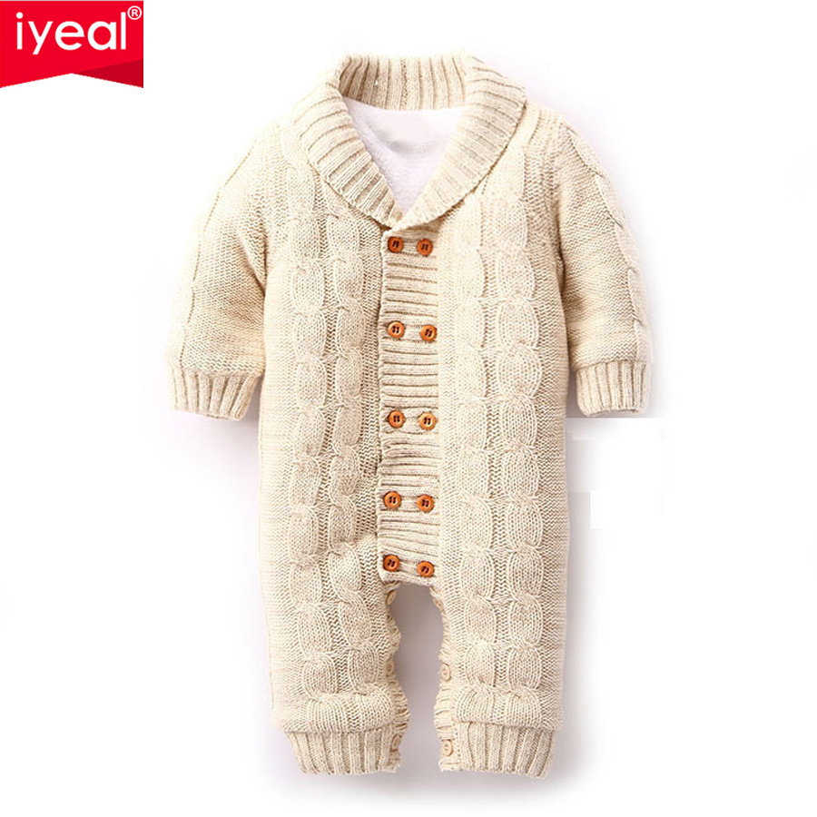 IYEAL 2018 Baby Winter Clothes Cotton Thick Warm Knitted Sweater Infant Jumpsuits Newborn Boy Girl Romper High Quality Baby Wear 3pcs set newborn infant baby boy girl clothes 2017 summer short sleeve leopard floral romper bodysuit headband shoes outfits
