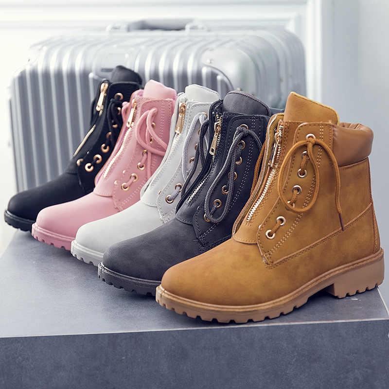 4463650aba ... 2018 New Women boot Autumn Winter Shoes Women Flat Heel Boots Fashion  Women s snow Boots Brand ...