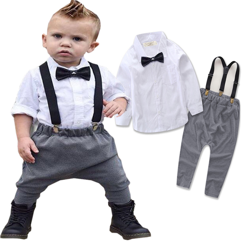 2017 Fashion Newborn Baby Boys Girls Clothing Set Infant Baby Boys Gentleman Outfit Set Bow Tie Blouse +overall Pants