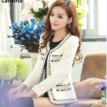 Women Clothing Long Sleeve V -Neck Spliced Tweed Jacket Short Coat Female Casual