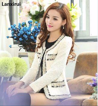 Women Clothing Long Sleeve V -Neck Spliced Tweed Jacket Short Coat Female Casual Fashion Slim Patchwork Cardigans Outerwear