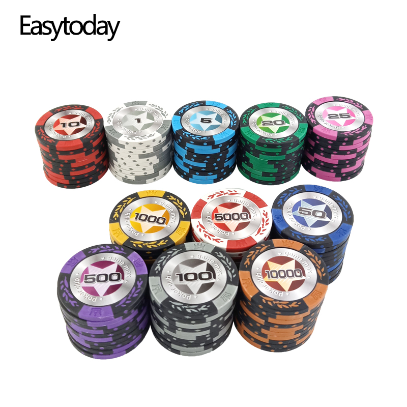 Easytoday 25Pcs/set Upscale Poker Chips Set Clay Embedded Iron Baccarat Texas Hold'em Professional Poker Chip Poker Star