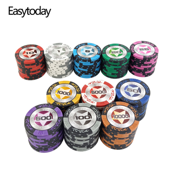 Easytoday 25Pcs/set Upscale Poker Chips Set Clay Embedded iron Baccarat Texas Hold'em Professional Poker Chip Poker