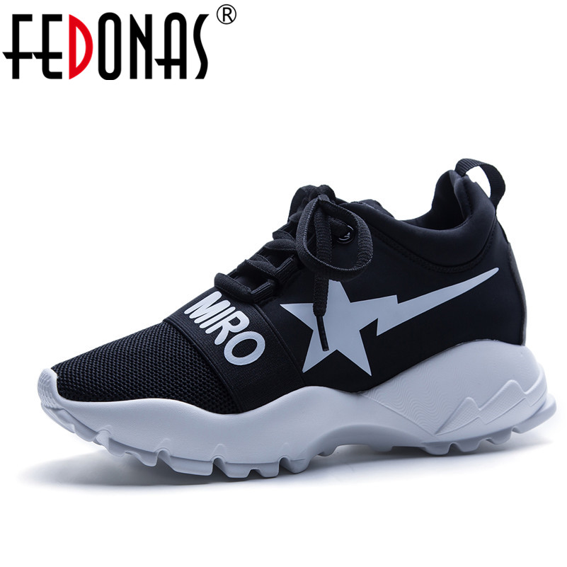 FEDONAS Women Shoes New 2018 Mesh High Quality Platforms Casual Shoes Woman Flats Ladies Sport Sneakers Breathable Shoes instantarts 2018 new fashion women casual flats anatomical hearts pattern air mesh sneakers breathable female flat shoes woman