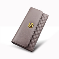 Big Capacity 3 Fold Wallet Genuine Leather Women Wallet Long Wallet Luxury Brand Purse Female Clutch Ladies Real Leather Wallets