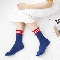 New Retro Women Twist Pattern Cotton Socks Vintage Red Stripe Hit Color Pile Heap Socks Spring Autumn Crew Socks