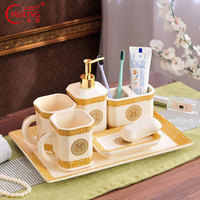 Europe Luxury Gold Bathroom Set Toilet Decoration Accessories Toothbrush Holder Ceramic Cup Soap Dispenser Tray Organizer House