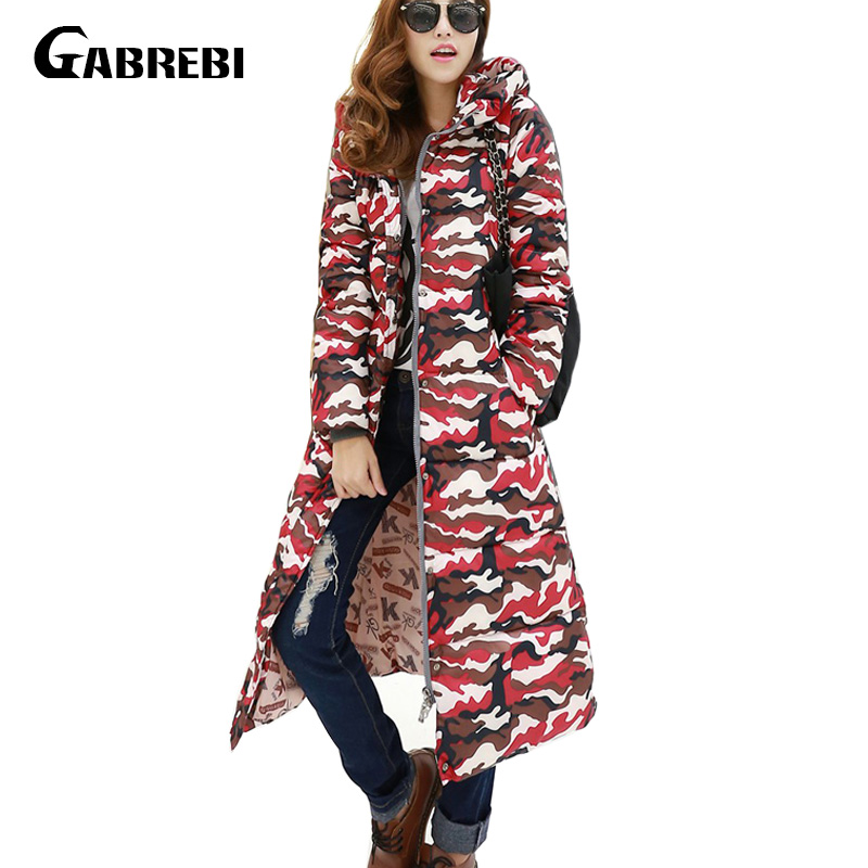Women Down Parkas Long Thick Winter Camouflage Print Coat Down Jacket for Female Clothing Thick Outerwears