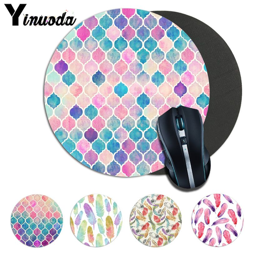 Yinuoda Cool rainbow Pastel Watercolor Moroccan Mousepads gamer gaming Mouse pads round mousepad Rubber Rectangle Mousemats