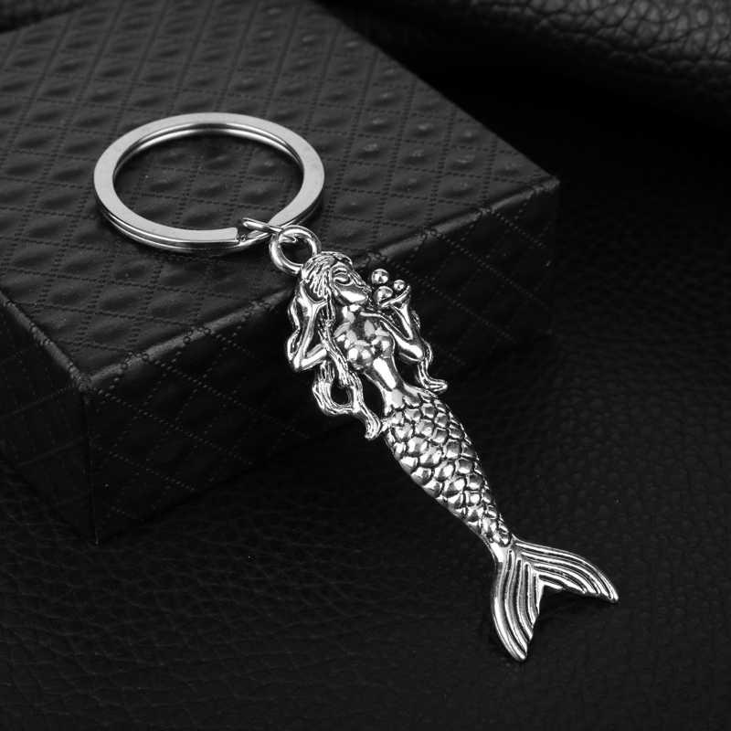 Conto de fadas A Pequena Sereia de Prata Chaveiro Chaveiro de Metal Decorativo Pingente para Mulheres Presentes Acessórios Do Telefone Sacos Chave Do Carro- 50