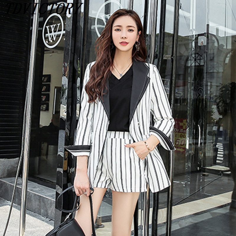 Mode Automne Manteau Pièces Lady As 2018 Formelle D'affaires Picture Office Tdvictory Deux Femmes Short Blazers Ensemble Rayé Casual v1R5xqw